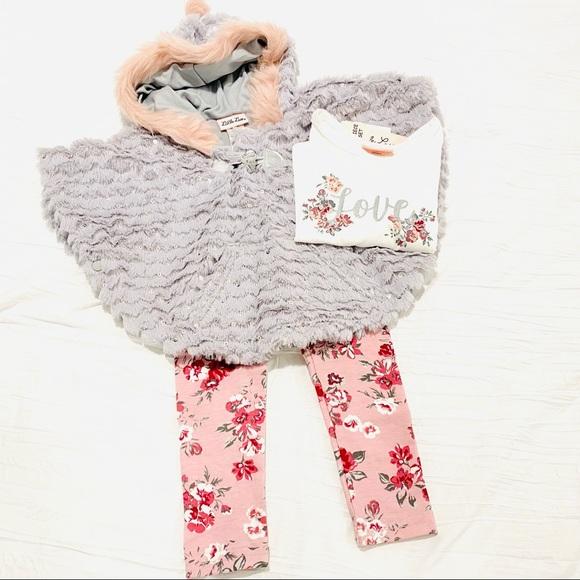 NWT Little Lass 3 Piece Set 2T Fur Poncho Winter Fall Toddler